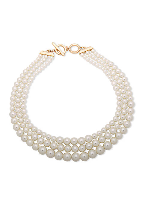 Anne Klein Gold-Tone Pearl Necklace