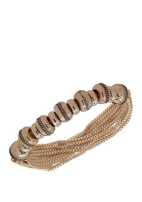 Gold-Tone Stretch Chain Rondell Bracelet
