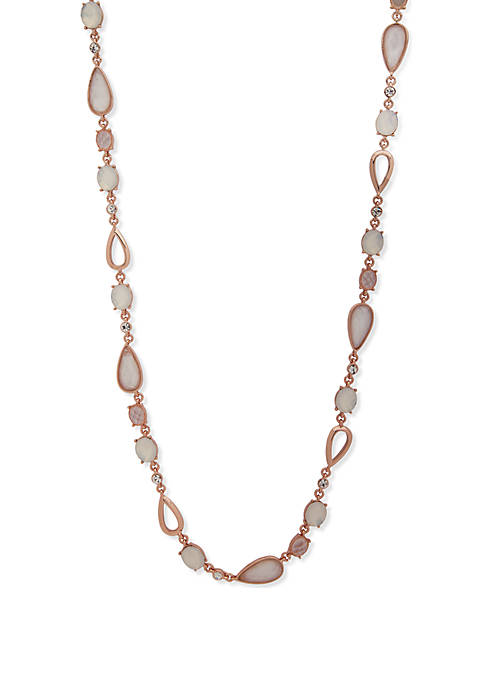 Rose Gold-Tone White Teardrop Necklace