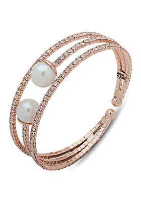 624a39fd694d6 Anne Klein Pearl Pave Cuff Bracelet ...