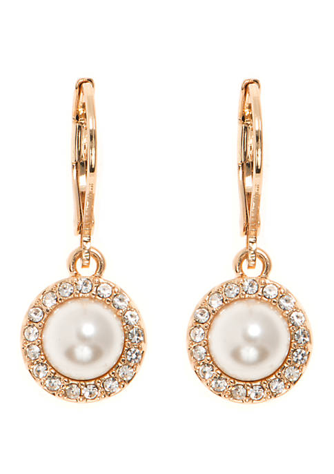 Gold-Tone Metal and White Peal Halo Drop Earrings