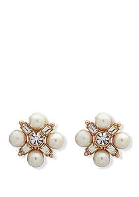 d1dd09eb6 Anne Klein Gold-Tone White Pearl Cluster Earrings ...