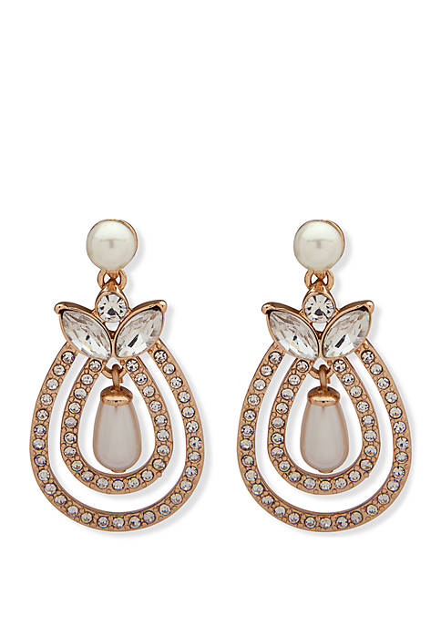 Anne Klein Gold-Tone White Pearls and Crystal Pave