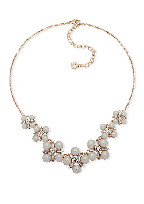 Anne Klein Gold-Tone White Pearl Cluster Frontal Necklace