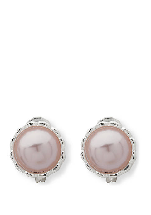 Anne Klein Silver-Tone Pearl Dome Clip Earrings