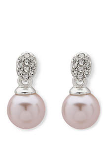 Anne Klein Pave Post Drop Pearl Earrings