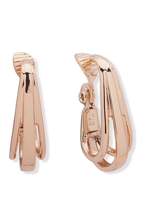 Anne Klein Gold Tone 3 Ring Hoop Clip