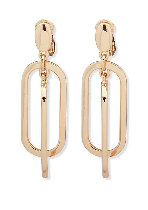 Anne Klein Gold Tone Orbital Clip Earrings