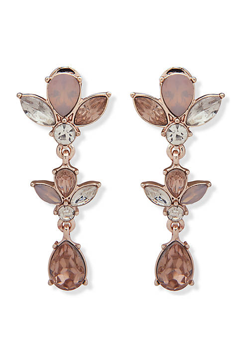 Rose Gold-Tone Clip Linear Crystal Earrings