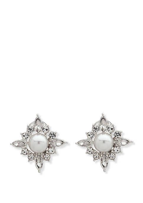 Anne Klein Silver-Tone Crystal Pearl Halo Clip Earrings