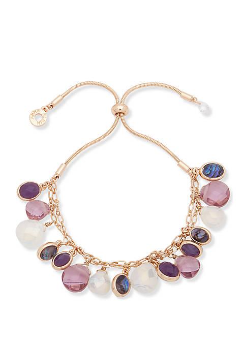 Anne Klein Gold-Tone Purple Multi Briolet Stone Charms