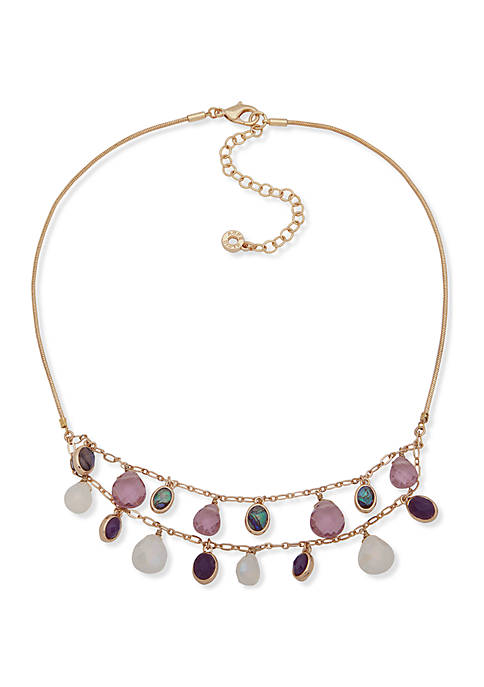 Anne Klein Gold-tone Purple Multi-Row Briolette Stone Frontal