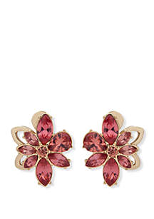 Anne Klein Gold Tone And Coral Flower EZ Comfort Clip Button Earrings