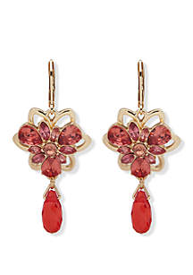 Anne Klein Gold Tone And Coral Flower Drop Earrings