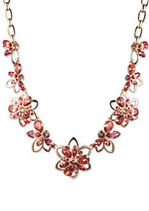 Anne Klein Gold Tone And Coral Large Chain Flower Frontal Necklace