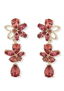 Anne Klein Gold Tone And Coral Flower EZ Comfort Clip Linear Earrings
