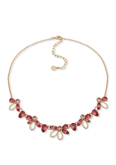 Gold Tone And Coral Flower Frontal Necklace