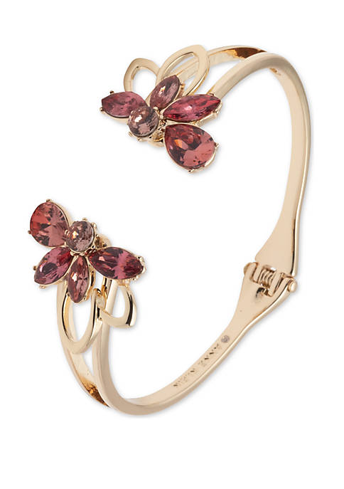 Gold Tone And Coral Flower Hinge Cuff Bracelet