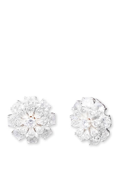Anne Klein Cubic Zirconium Flower Button Earrings