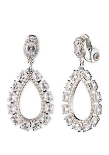 Anne Klein Silver Tone And Crystal EZ Comfort Clip Drop Earrings