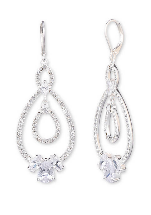 Silver Tone and Cubic Zirconia Linear Earrings