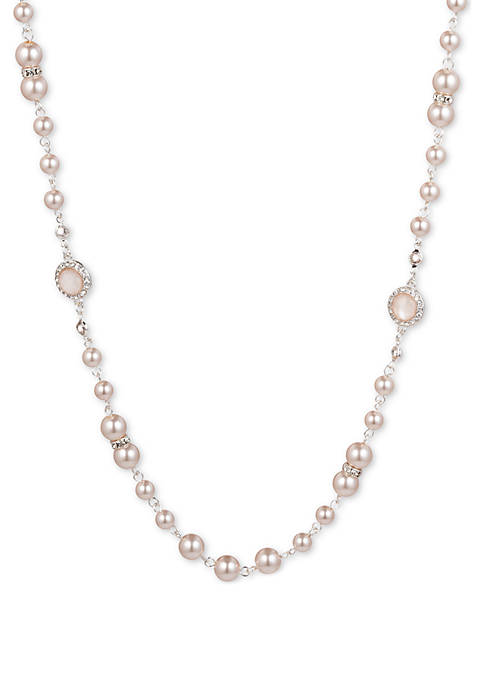 Anne Klein Silver Tone Pink Pearl and Crystal