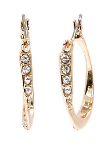 Anne Klein Gold Tone and Crystal Pave Click Top Hoop Earrings