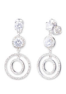 Anne Klein Silver Tone and Crystal Long Orbital EZ Comfort Clip Drop Earrings
