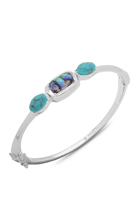 Anne Klein Silver Tone Hinge Bangle Bracelet