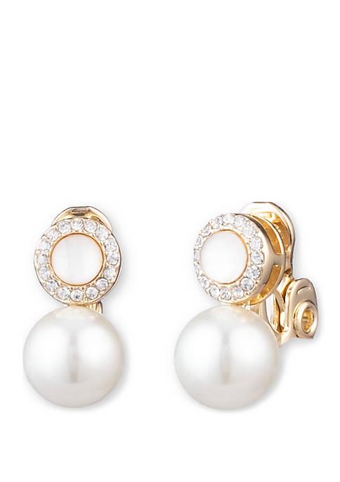 Gold Tone Double Drop Button Earrings