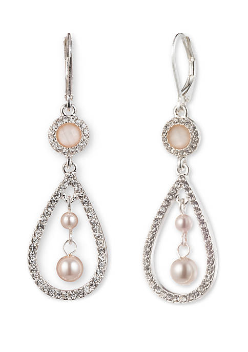 Anne Klein Silver Tone Pearl And Crystal Orbital