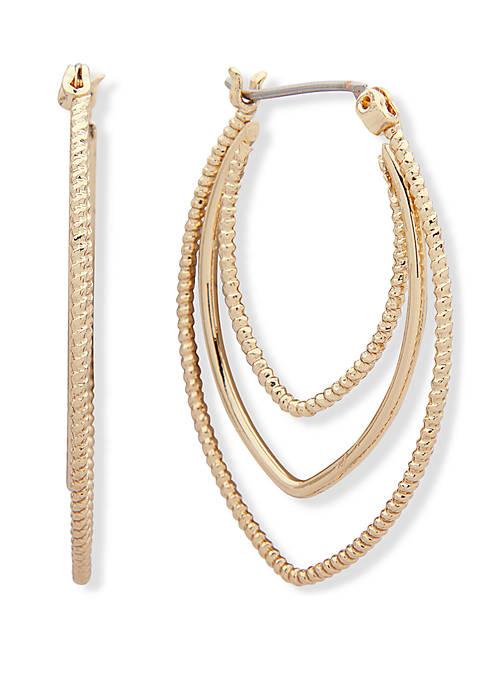 Anne Klein Textured Triple Row Hoop Earrings