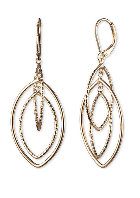 Gold Tone Large Textured Open Drop Earrings