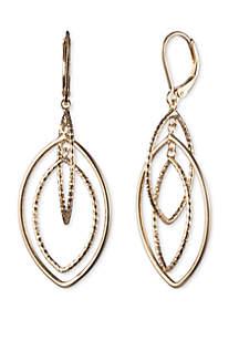 Anne Klein Gold Tone Large Textured Open Drop Earrings