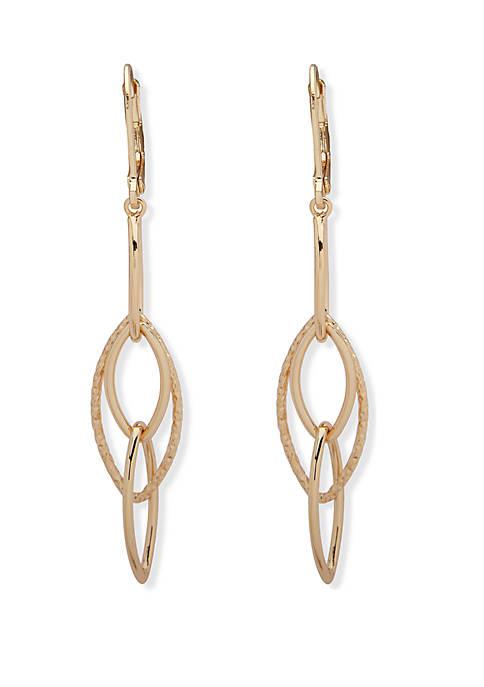 Anne Klein Gold Tone Open Drop Earrings