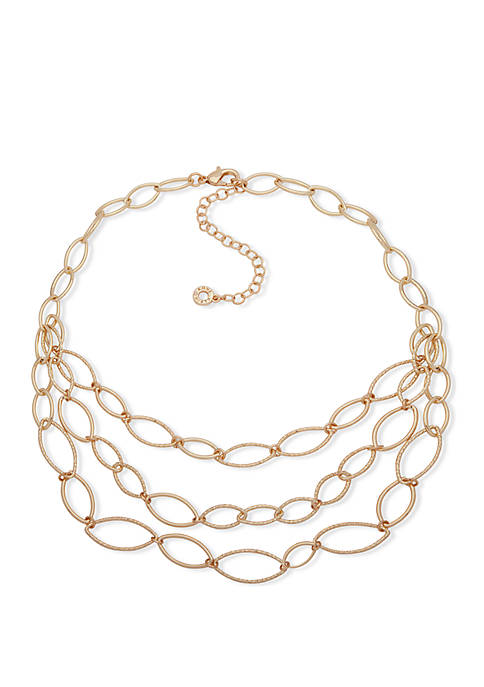 Gold Tone Textured Link Triple Row Frontal Necklace