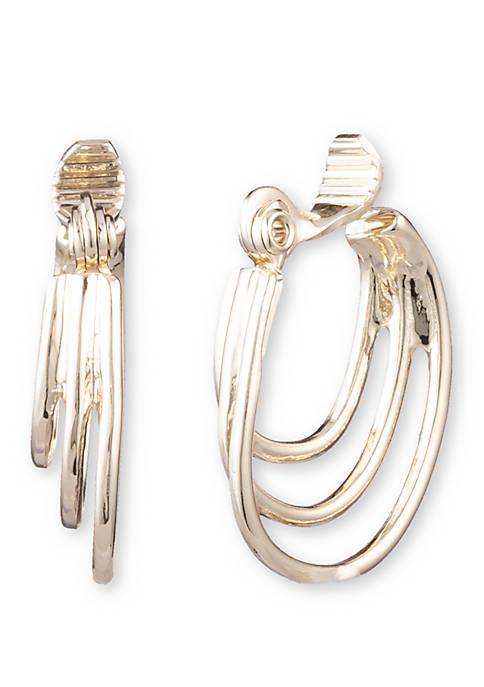Anne Klein Gold Tone Multi Ring Hoop Earrings