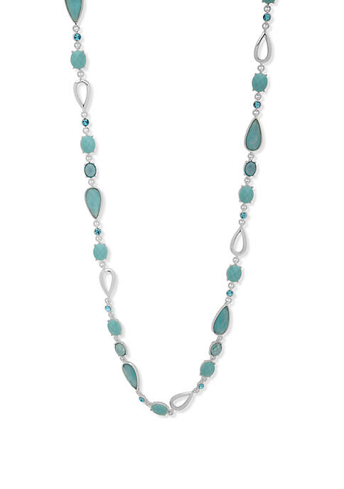 Anne Klein Silver Tone And Aqua Stone Stationed