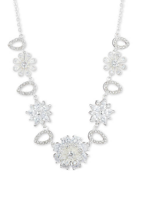 Anne Klein Silver Tone Crystal Flower Frontal Necklace