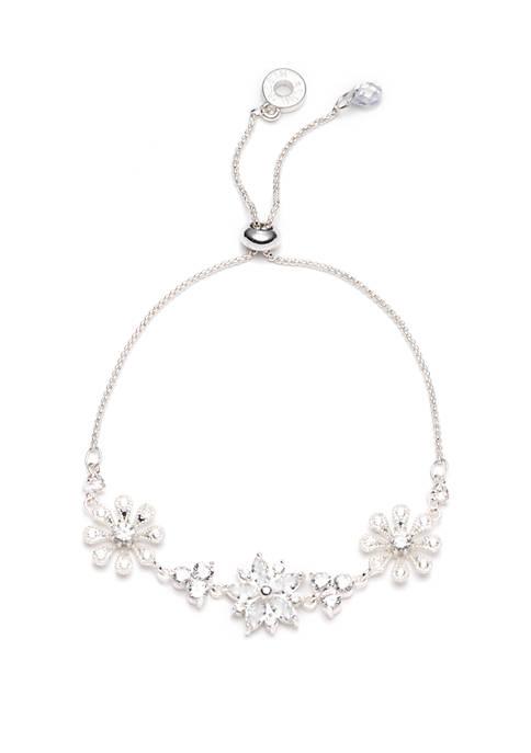 Anne Klein Slider Crystal Flower Bracelet