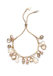 Anne Klein Gold Tone and Multi Stone Stretch Bracelet