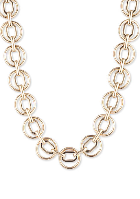 Anne Klein Gold Tone Circle and Octagon Collar