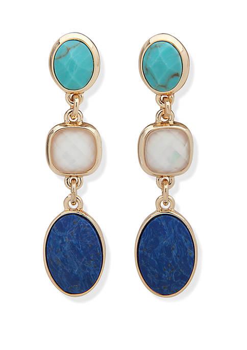 Two Tone and Multi Linear Cushion Stone Earrings