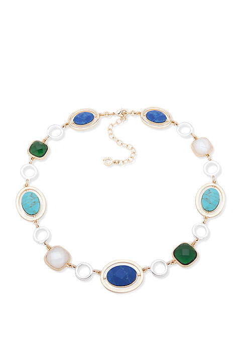 Two Tone and Multi Stone Collar Necklace