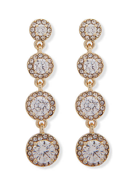 Gold Tone and Crystal Halo Linear Earrings