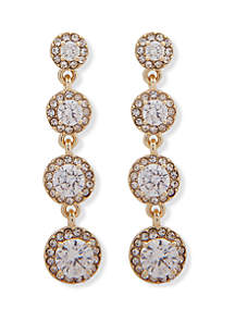 Anne Klein Gold Tone and Crystal Halo Linear Earrings