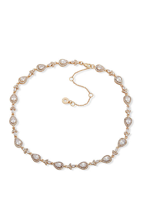 Gold Tone Crystal Teardrop Navettes All Round Collar Necklace