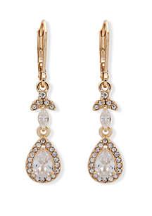 Anne Klein Gold Tone and Crystal Teardrop Lever Back Drop Earrings