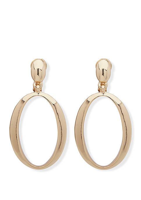 Anne Klein Oval EZ Comfort Clip Drop Earrings