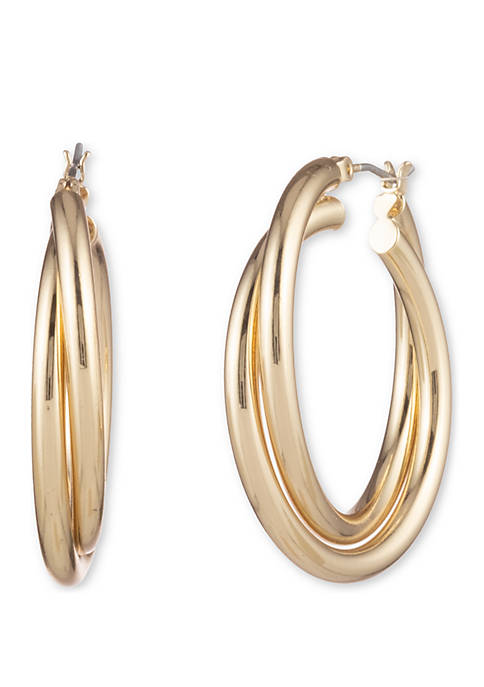 Anne Klein Gold Tone Twist Click Top Hoop